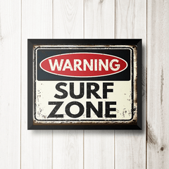 PLACA WARNING SURF ZONE na internet