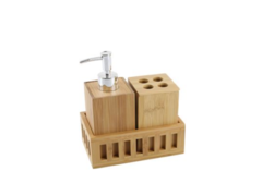 SET C/BANDEJA LISO DISPENSER BAMBOO