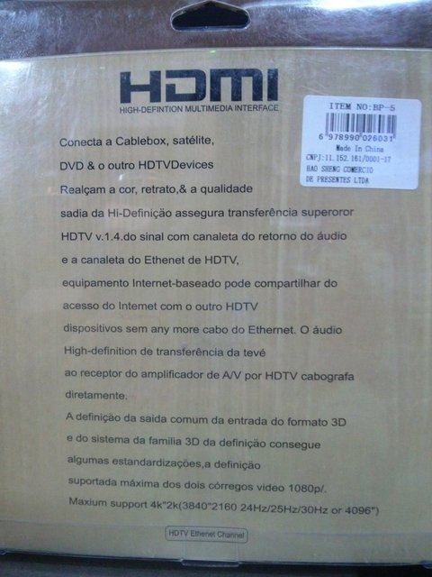 Cable 3d Version 1.4 Hdmi A Hdmi 5 Metros Bp-5 Aoweixu - comprar online