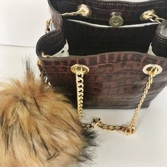Mini Bag Charlotte Crocco Marrón - comprar online