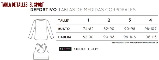 TABLA DE TALLES SWEET LADY