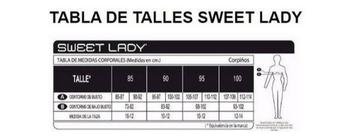 Tabla de talles corpiños sweet lady