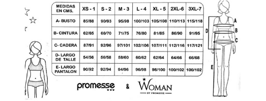 Tabla de talles promesse-woman