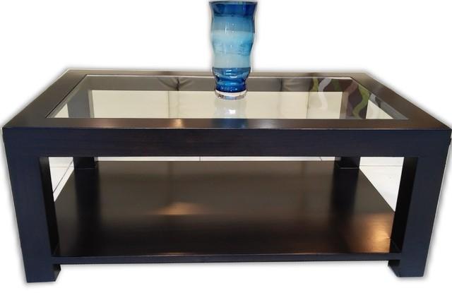 mesa ratona de vidrio y madera modelo iara