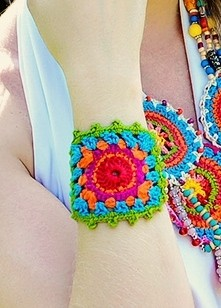 Bracelete Crochê Color