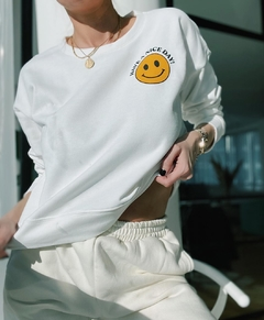 Buzo blanco smiley - comprar online