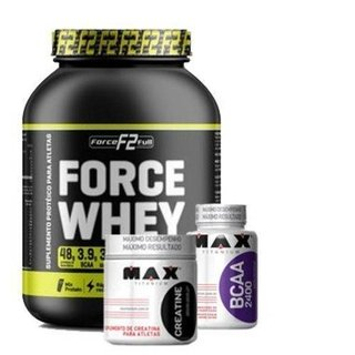 Combo Hipertrofia Force Whey 2KG Bcaa 2400 100 caps Creatina 150g