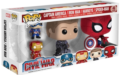 POP! VINYL - CIVIL WAR - PACK 4 (SPIDER MAN, HAWKEYE, CAP AMERICA E IRON MAN)