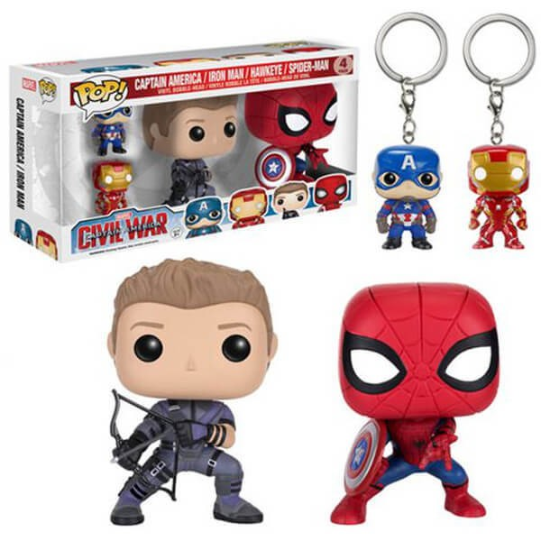 POP! VINYL - CIVIL WAR - PACK 4 (SPIDER MAN, HAWKEYE, CAP AMERICA E IRON MAN) - comprar online