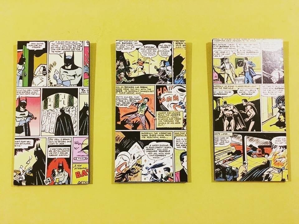 Cuadros - Tríptico Batman Comic - Delorean Art