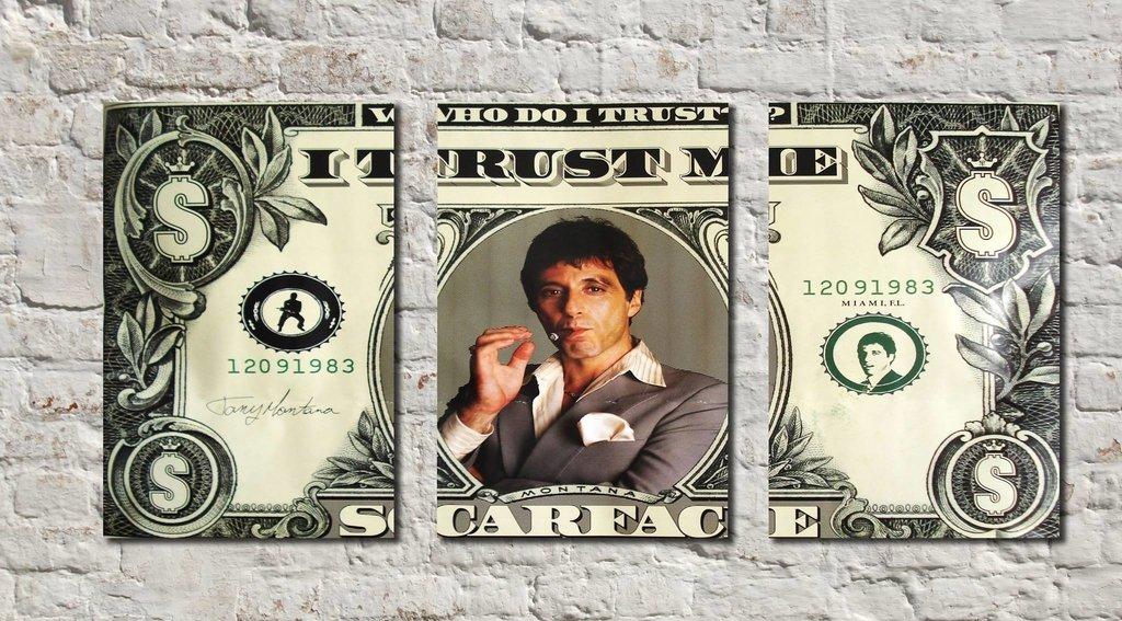 Cuadros - Tríptico Scarface B Dólar - Delorean Art