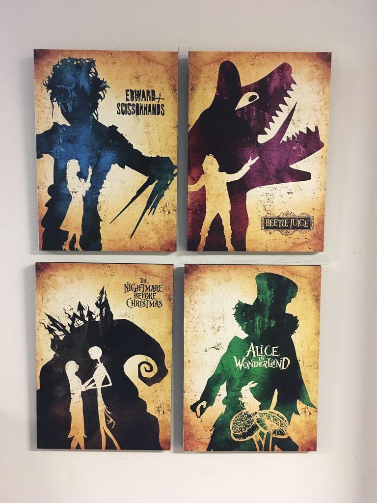 Combo 4 cuadros Películas Tim Burton - Delorean Art