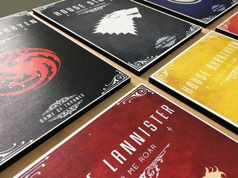 Combo 9 Cuadros Casas Game of Thrones - comprar online