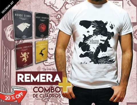 Combo 4 cuadros + Remera Game of Thrones Winter is Coming