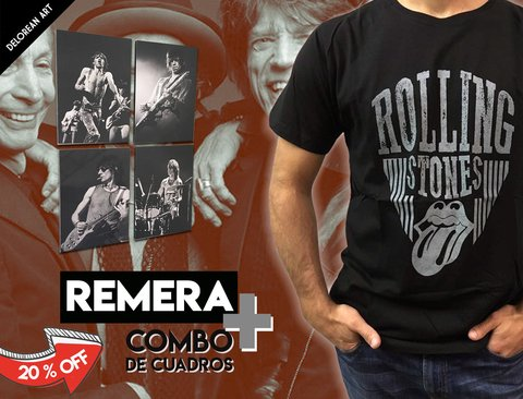 Combo remera + 4 cuadros The Rolling Stones
