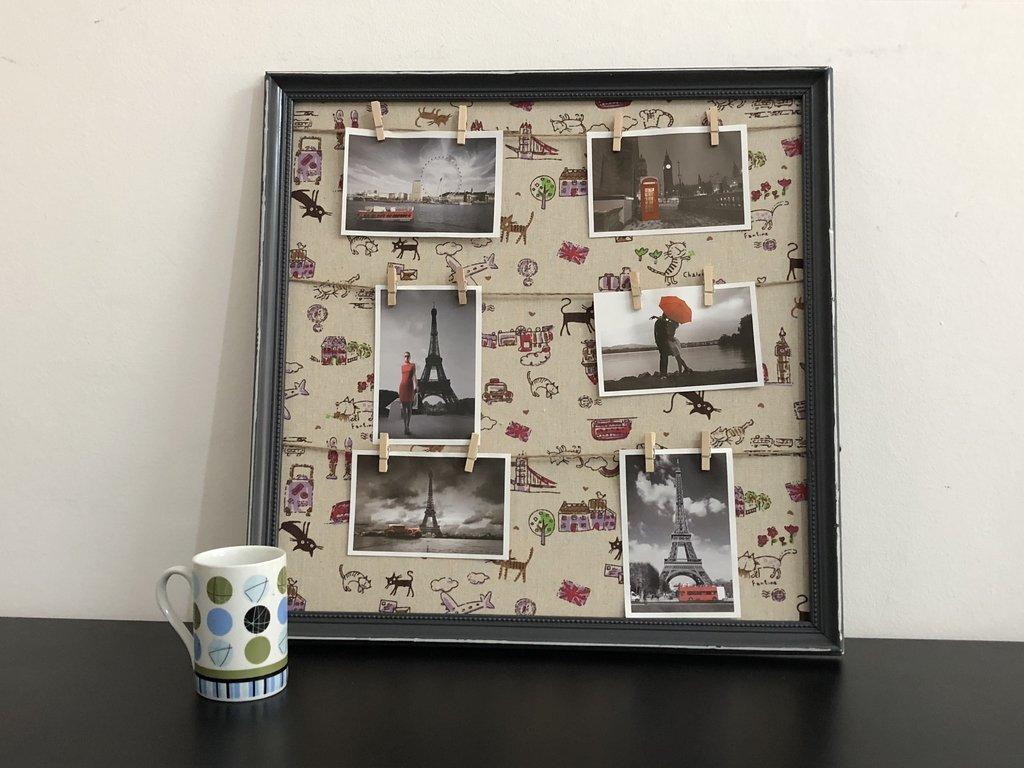 Cuadro con broches Londres con marco 52x52 cm con fotos ...