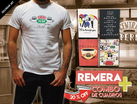 Combo 4 Cuadros Friends + Remera Central Perk