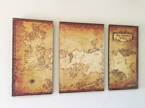 Cuadros - Tríptico Mapa Game of Thrones B