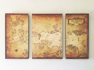 Cuadros - Tríptico Mapa Game of Thrones B - comprar online