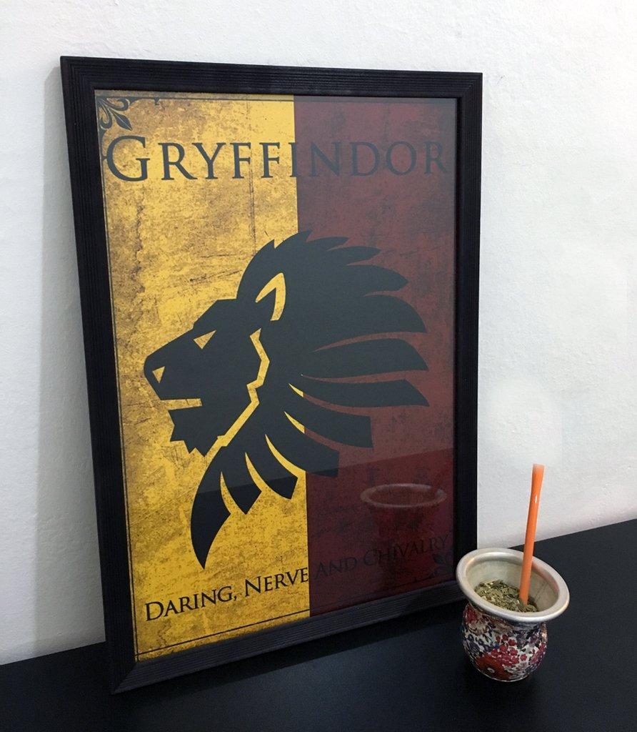 Cuadro Gryffindor Hogwarts Harry Potter - Con Marco