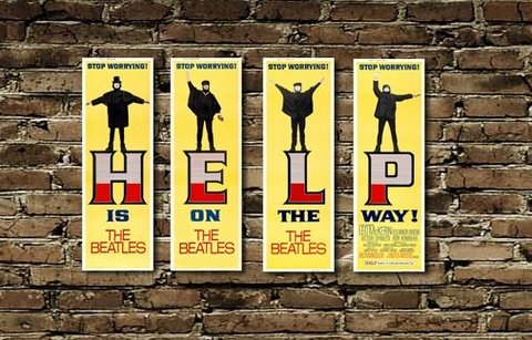 Combo 4 Cuadros The Beatles Help (c/u 20x40 cm)