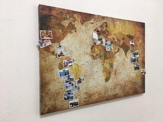 Mapa Para Marcar Viajes.Cuadro Mapamundi Para Marcar Viajes Con Corcho