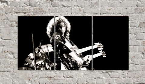Cuadros - Triptico Led Zeppelin Jimmy Page con guitarra doble