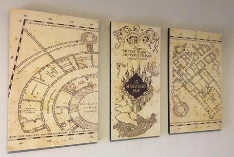 Mapa Del Merodeador Comprar.Cuadros Triptico Harry Potter Mapa Del Merodeador Total 74x40 Cm