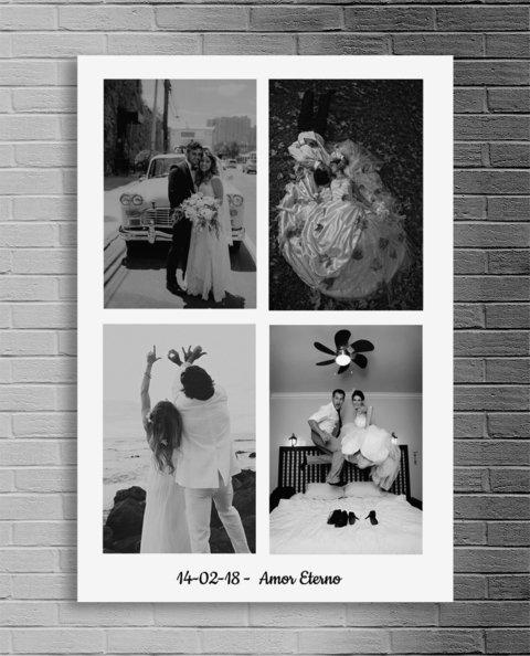 Cuadro Con Diseño De Collage De Fotos Y Frase