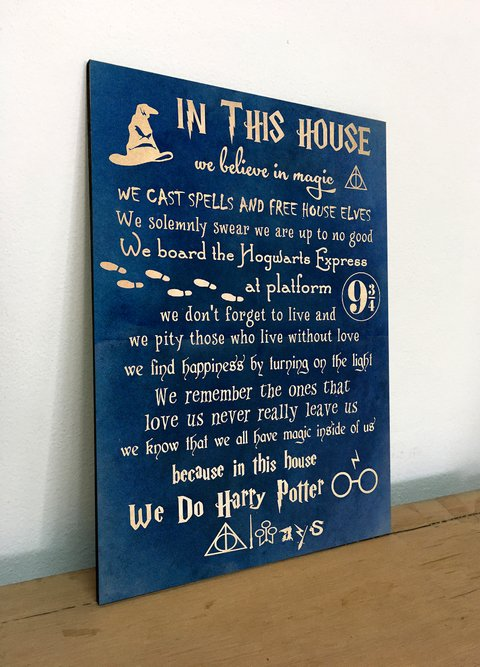 Cuadro Liviano - Harry Potter In this house we believe in magic