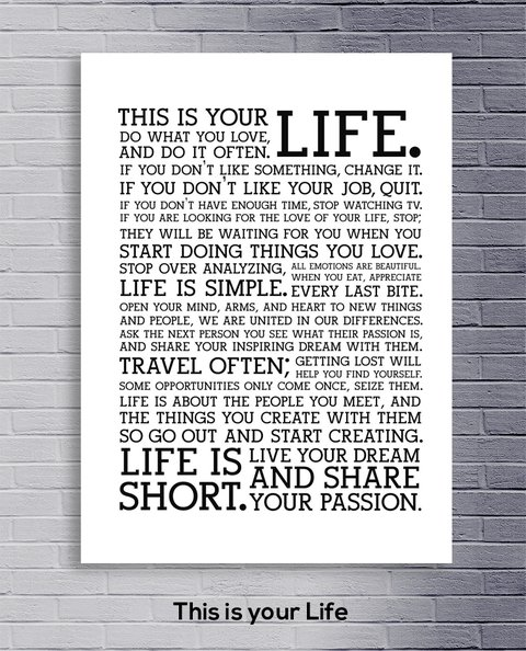 Cuadro Frase - This is your life - comprar online