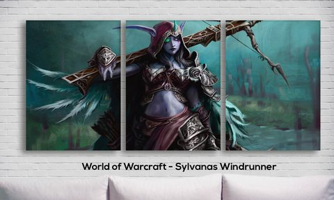 Cuadros - Tríptico World of Warcraft - Sylvanas Windrunner - comprar online