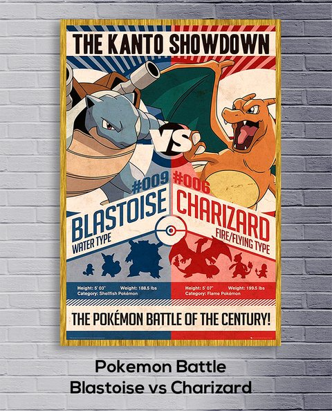 Cuadro Pokemon Battle  Blastoise vs Charizard - comprar online