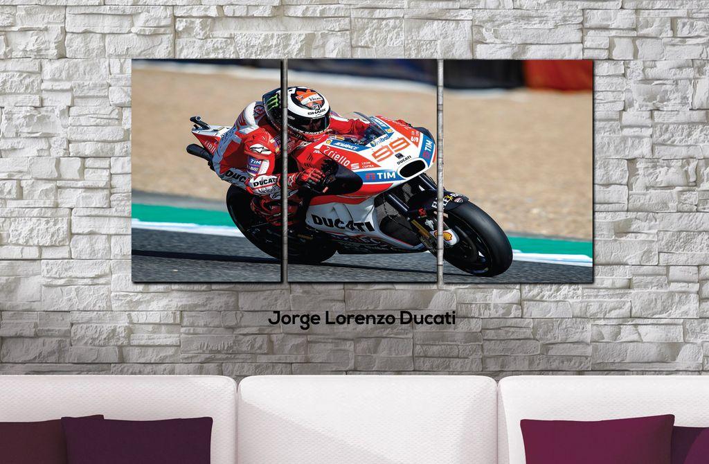 Cuadros - Tríptico Jorge Lorenzo Ducati - Delorean Art