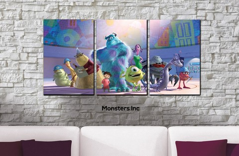 Cuadros - Tríptico Monsters Inc - comprar online