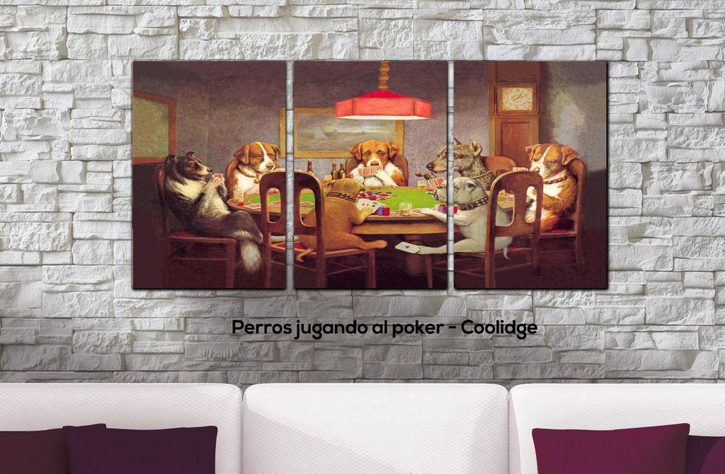 Cuadros Triptico Perros Jugando Al Poker Coolidge