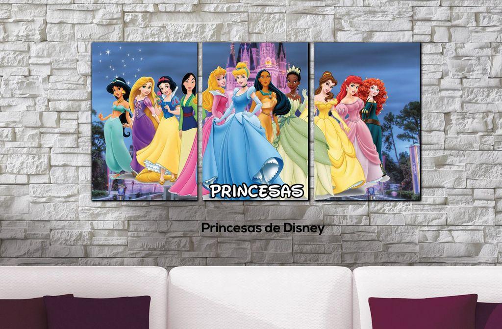 Cuadros - Tríptico Princesas de Disney - Delorean Art