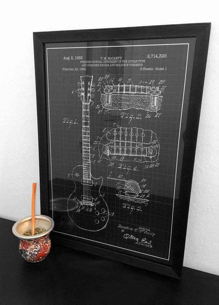 Cuadro Guitarra Eléctrica Gibson - Con Marco