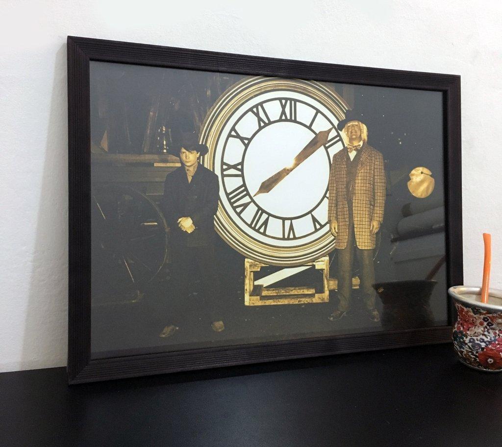 Cuadro Foto de Doc y Marty con el reloj 1885 - Con Marco