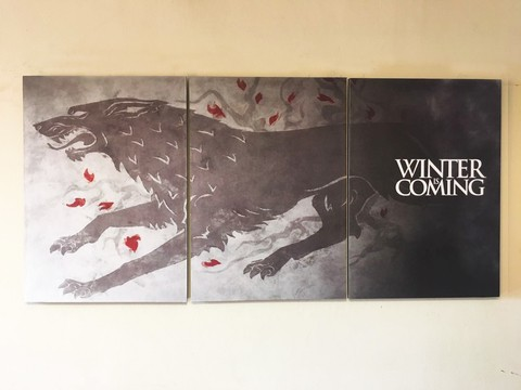 Cuadros - Tríptico Game of Thrones Casa Stark Winter is Coming - comprar online