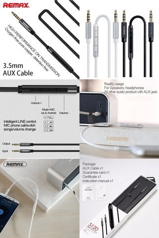 CABLE AUDIO CON VOLUMEN , PLAY Y PAUSA 3,5 MM MICROFONO REMAX S120 en internet