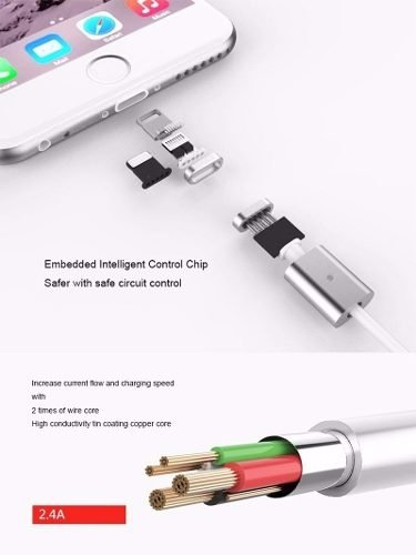 Cable Mallado Magnetico Carga Lightning Iphone 5 6 7 8 Plus