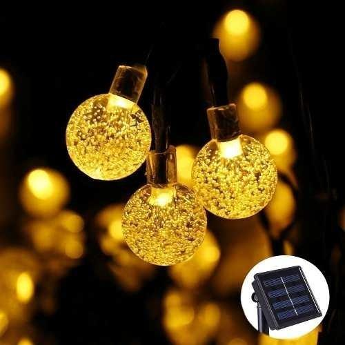 Luz Decorativa Solar Bolita 50 Led Calido 5 Metro Exterior