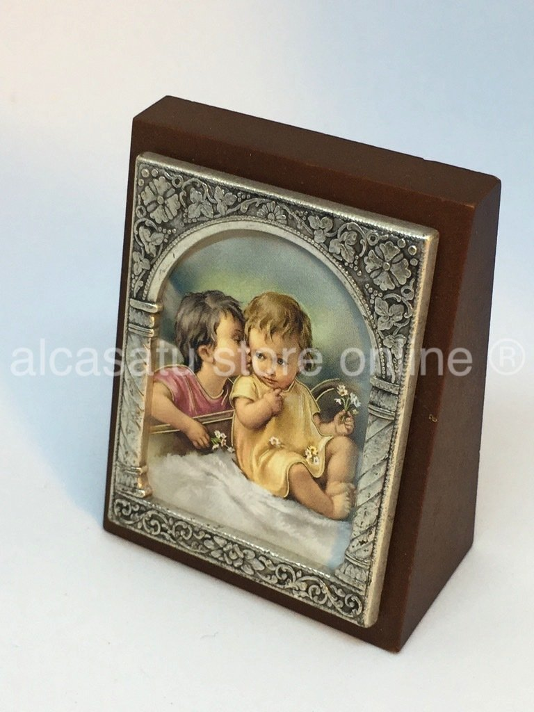 Cuadro angel de la guarda susurrando souvenir marco filigrana italia