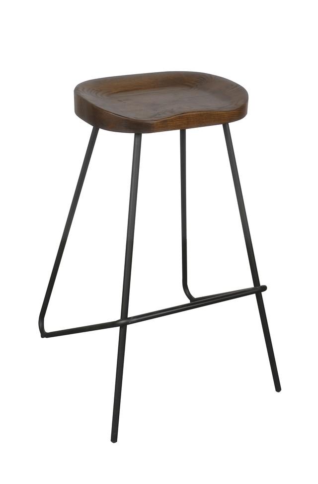 Banqueta industrial con asiento de madera cobre for Banquetas de madera