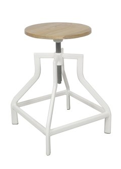 Banquito Industrial con Asiento de Madera Regulable Blanco