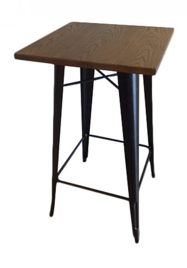 Mesa desayunador tolix madera oscura emuebles for Mesa desayunador
