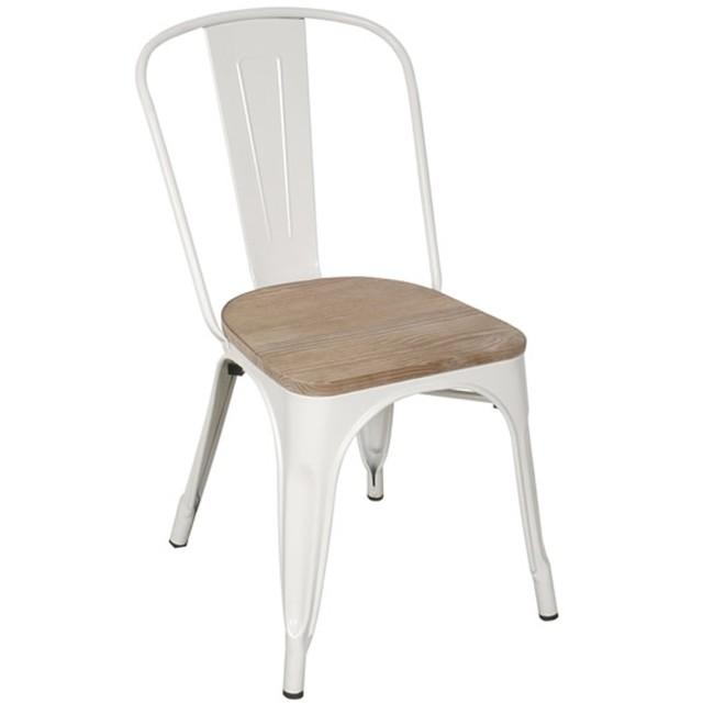 Silla tolix blanca con asiento de madera emuebles for Sillas blancas de madera tapizadas