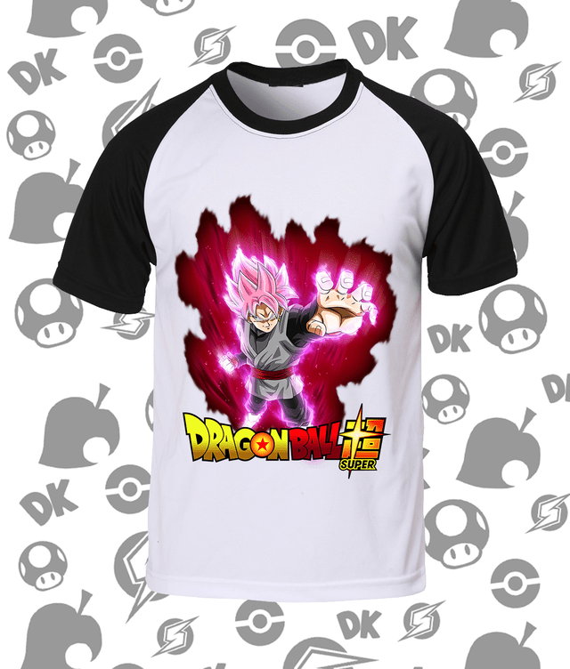 Camisa Raglan Dragon Ball Goku Black SSJ Rosé