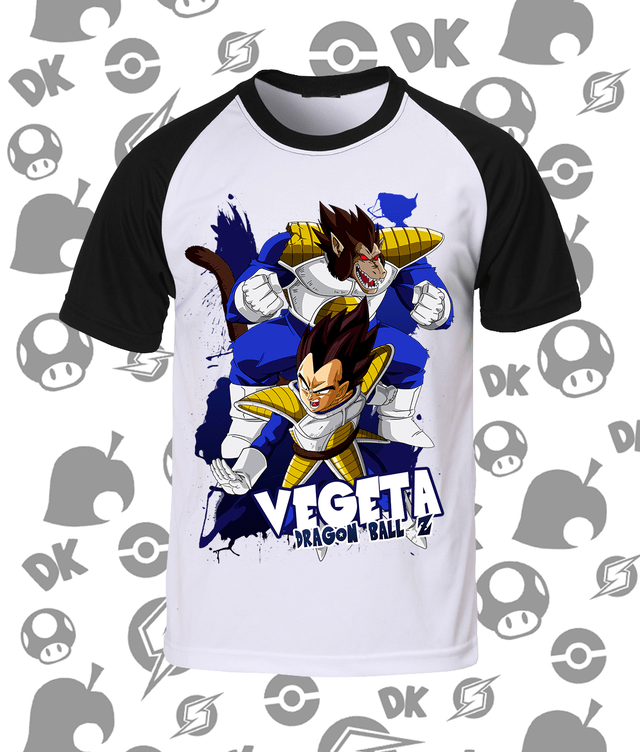 Camisa Raglan Dragon Ball Vegeta Transformações
